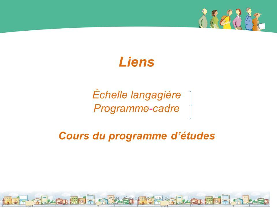 Liens Échelle langagière Programme-cadre Cours du programme détudes 6AVANT RÉVISION LINGUISTIQUE