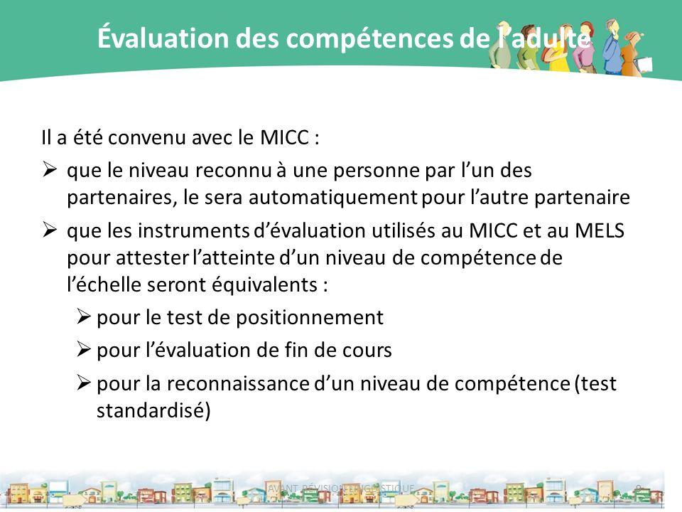Évaluation des compétences de ladulte Il a été convenu avec le MICC : que le niveau reconnu à une personne par lun des partenaires, le sera automatiqu