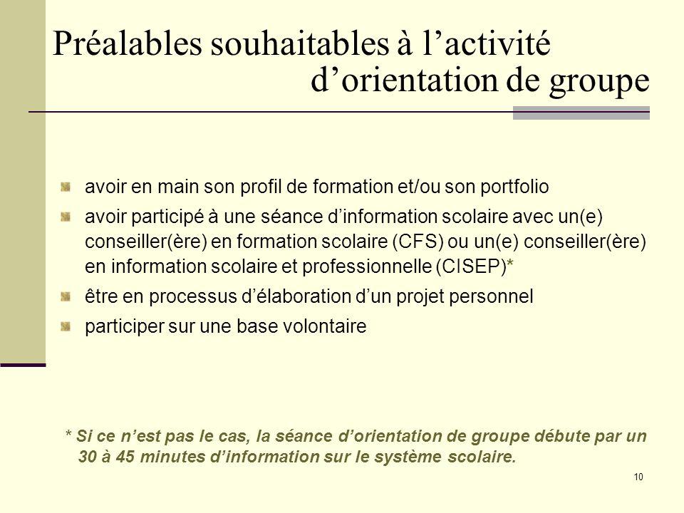 9 Le counselling de groupe dans un cadre dorientation Se déroule en 2 ou 3 rencontres dune demi-journée BUT : accompagner ladulte dans le développement de son identité et dans son cheminement vocationnel.