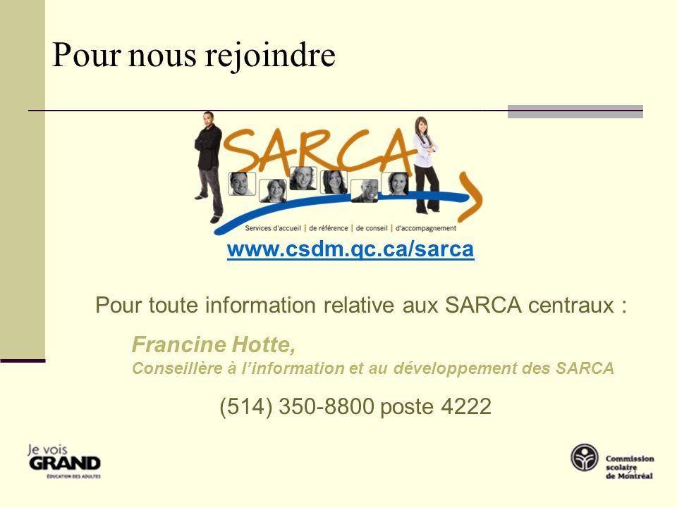20 Les services dorientation scolaire et professionnelle aux SARCA de la CSDM Je vous souhaite à tous un bon projet de vie qui fait du sens.