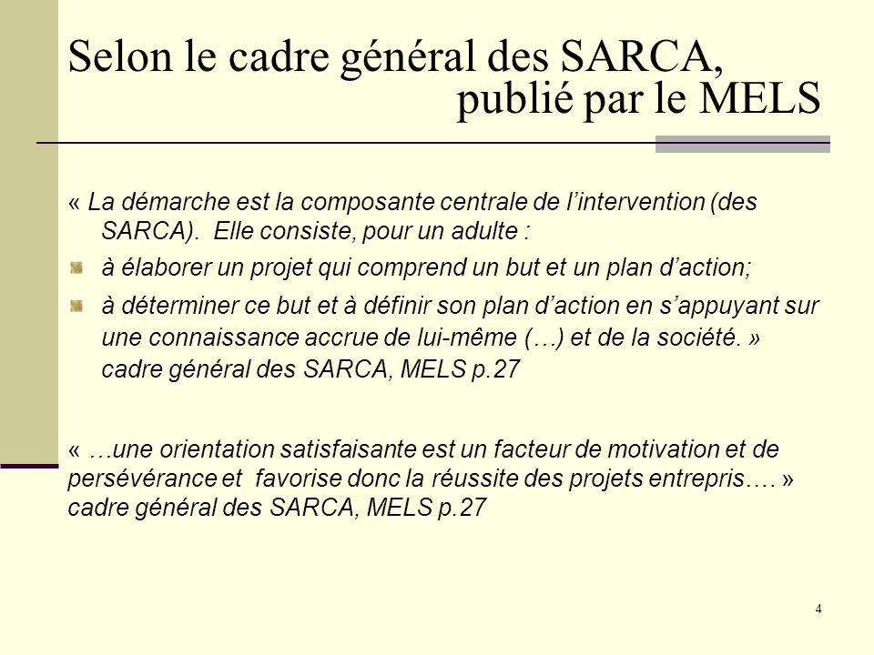 4 « La démarche est la composante centrale de lintervention (des SARCA).