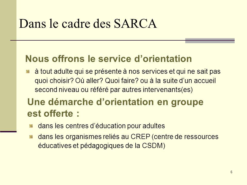 6 Dans le cadre des SARCA Nous offrons le service dorientation à tout adulte qui se présente à nos services et qui ne sait pas quoi choisir.