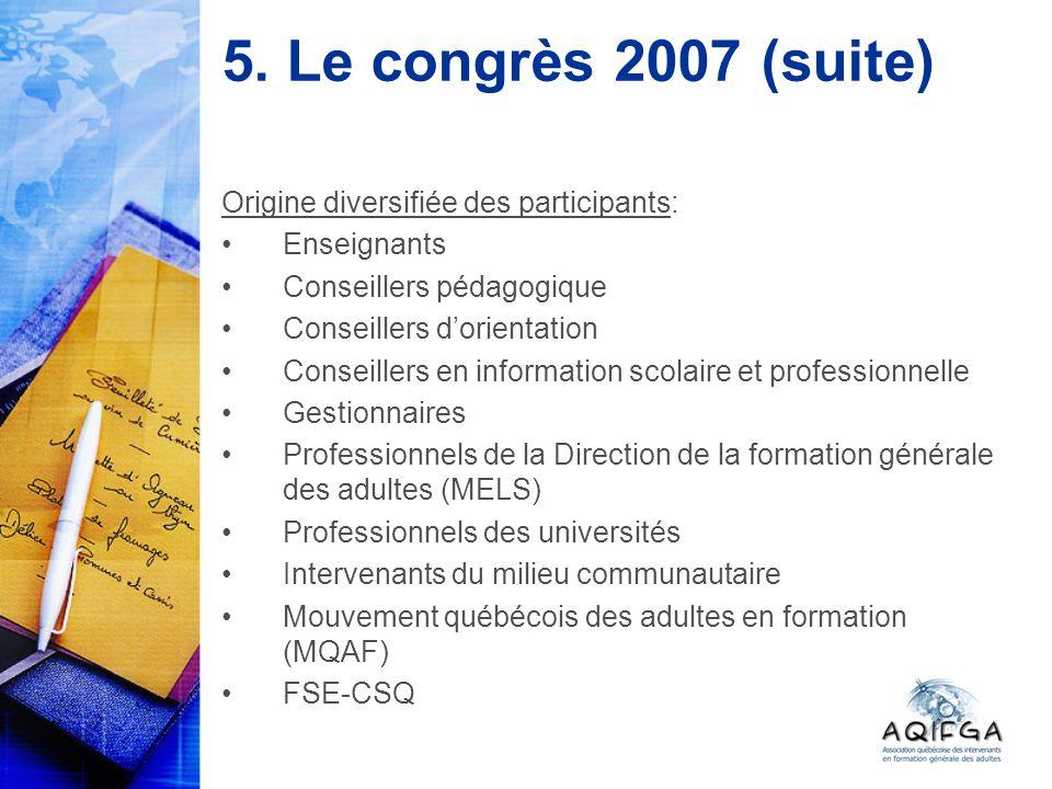5. Le congrès 2007 (suite) Origine diversifiée des participants: Enseignants Conseillers pédagogique Conseillers dorientation Conseillers en informati
