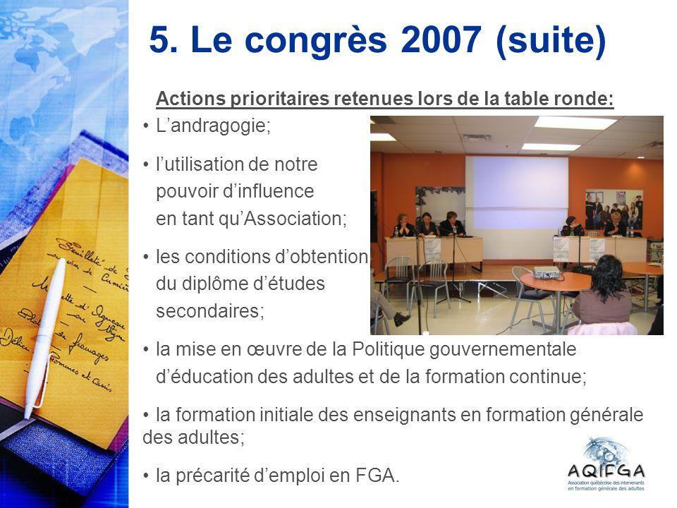 5. Le congrès 2007 (suite) Actions prioritaires retenues lors de la table ronde: Landragogie; lutilisation de notre pouvoir dinfluence en tant quAssoc