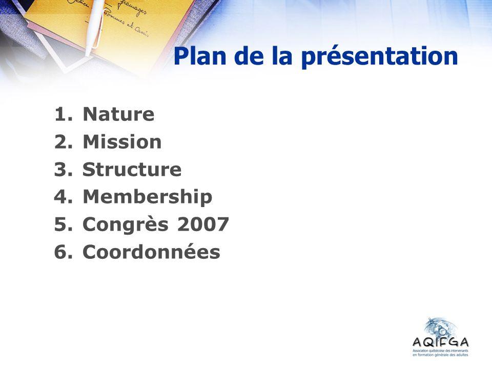 Plan de la présentation 1.Nature 2.Mission 3.Structure 4.Membership 5.Congrès 2007 6.Coordonnées