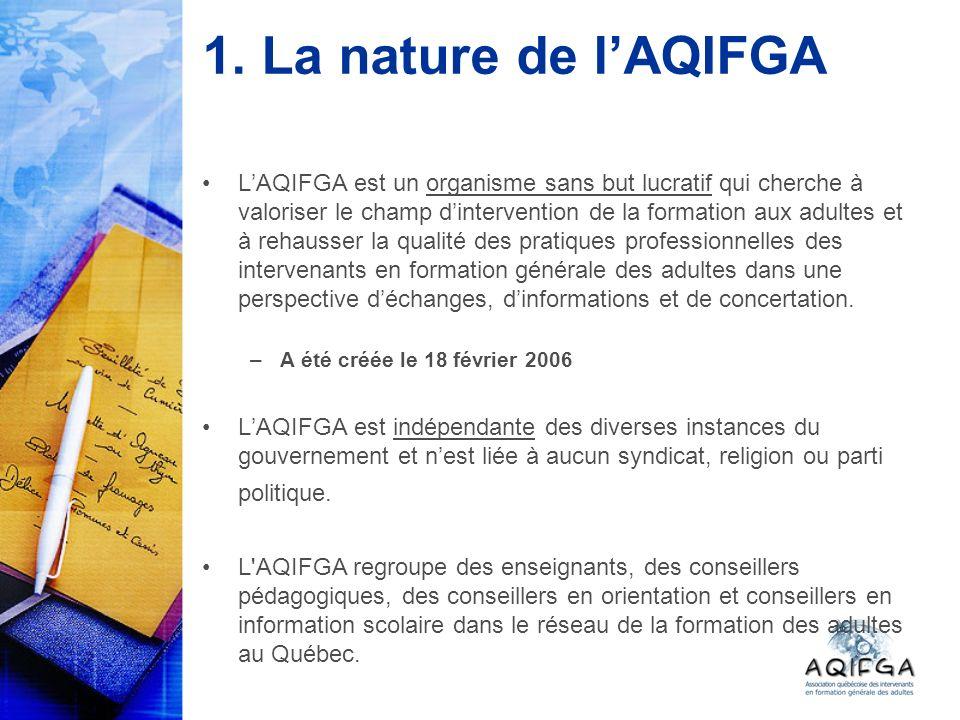 1. La nature de lAQIFGA LAQIFGA est un organisme sans but lucratif qui cherche à valoriser le champ dintervention de la formation aux adultes et à reh