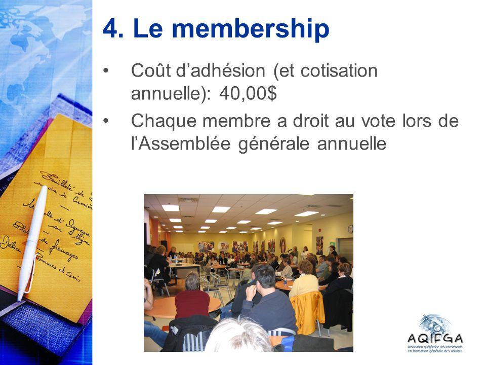 4. Le membership Coût dadhésion (et cotisation annuelle): 40,00$ Chaque membre a droit au vote lors de lAssemblée générale annuelle