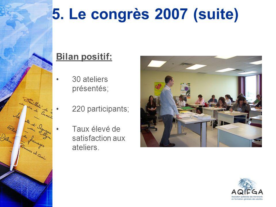 5. Le congrès 2007 (suite) Bilan positif: 30 ateliers présentés; 220 participants; Taux élevé de satisfaction aux ateliers.