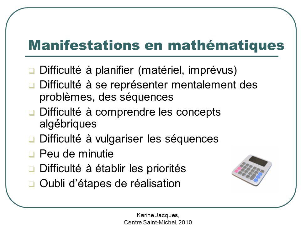 Karine Jacques, Centre Saint-Michel, 2010 Manifestations en mathématiques Difficulté à planifier (matériel, imprévus) Difficulté à se représenter ment