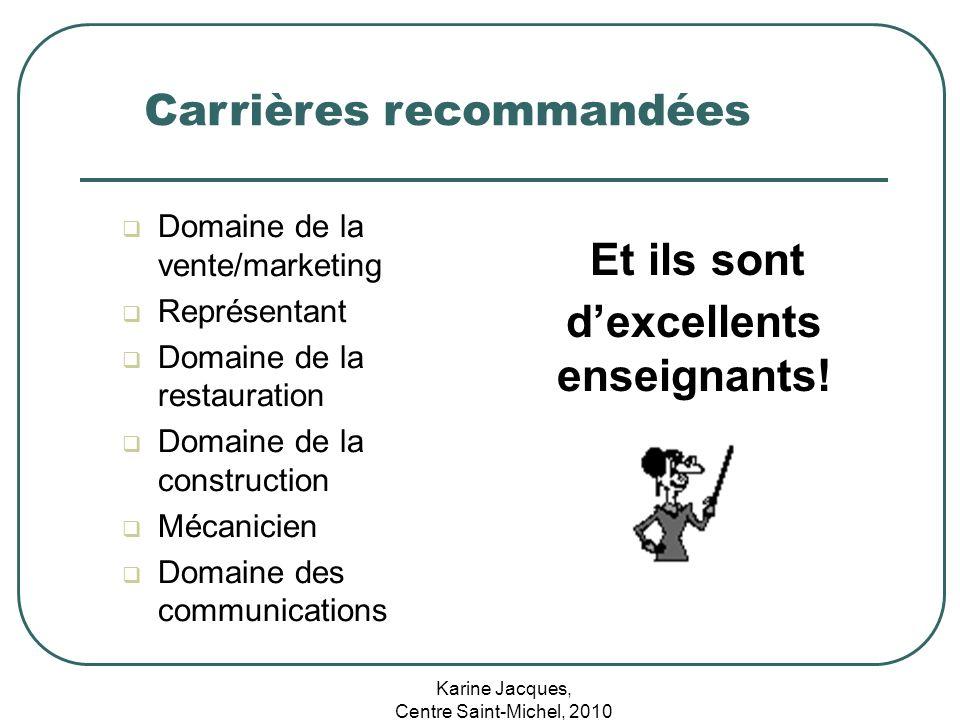 Karine Jacques, Centre Saint-Michel, 2010 Carrières recommandées Domaine de la vente/marketing Représentant Domaine de la restauration Domaine de la c