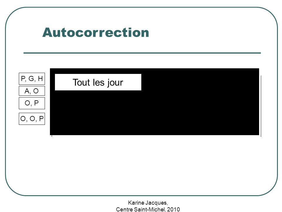 Karine Jacques, Centre Saint-Michel, 2010 Autocorrection Tous les jour, je cherche a comprendre pourquoi je fait des fotes. Je tente de trouver une fa
