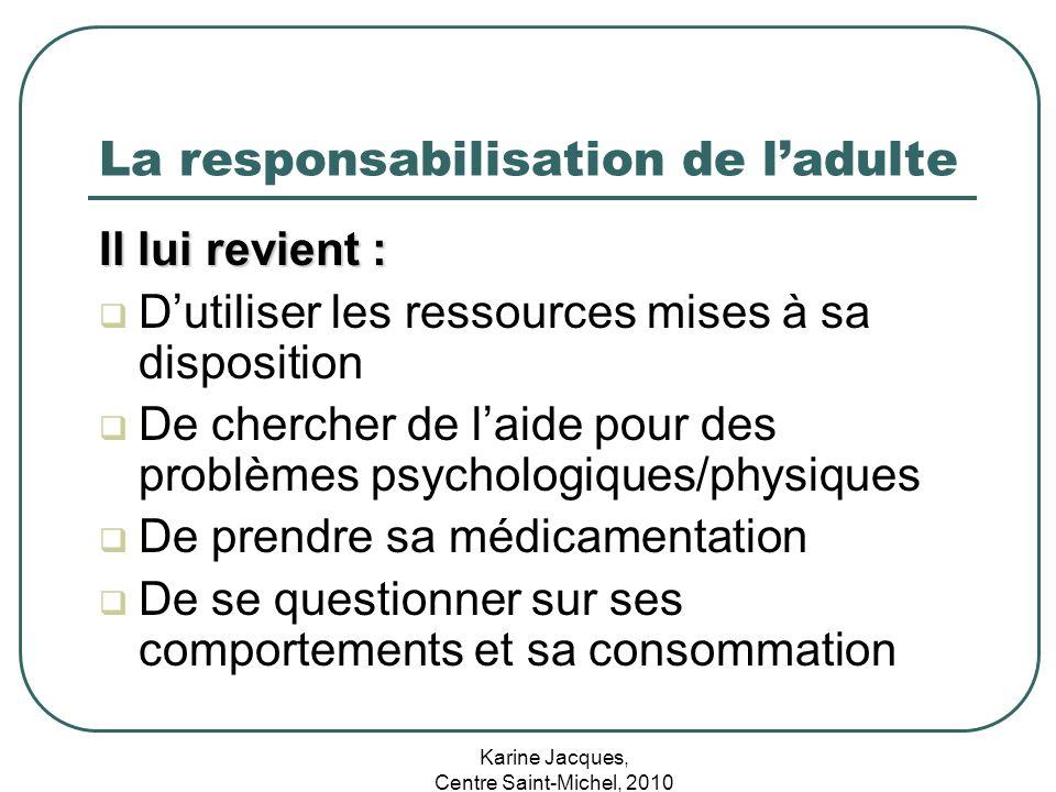 Karine Jacques, Centre Saint-Michel, 2010 La responsabilisation de ladulte Il lui revient : Dutiliser les ressources mises à sa disposition De cherche