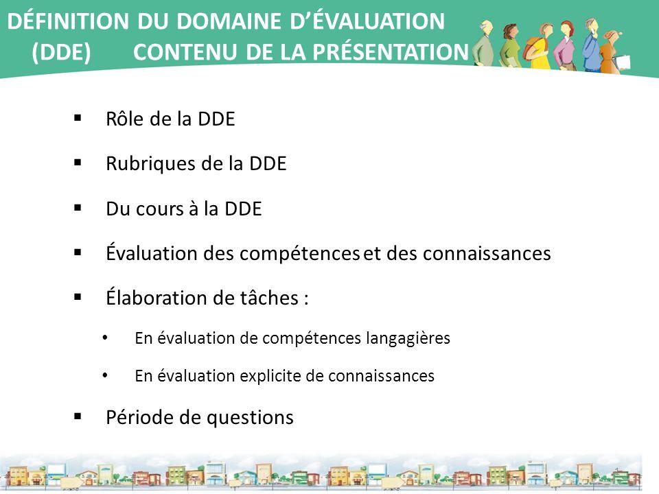 DÉFINITION DU DOMAINE DÉVALUATION (DDE) CONTENU DE LA PRÉSENTATION Rôle de la DDE Rubriques de la DDE Du cours à la DDE Évaluation des compétences et