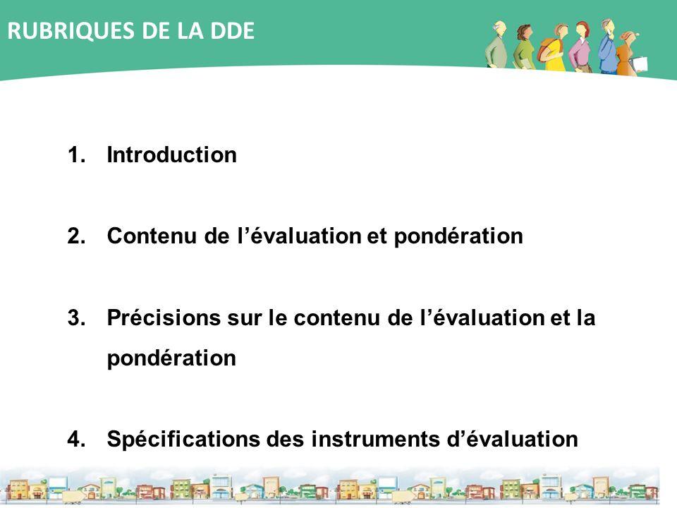 1.Introduction 2.Contenu de lévaluation et pondération 3.Précisions sur le contenu de lévaluation et la pondération 4.Spécifications des instruments d