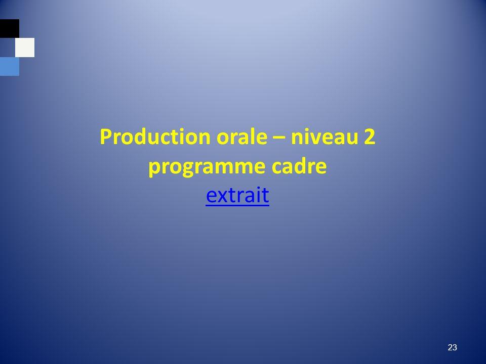 Production orale – niveau 2 programme cadre extrait extrait 23