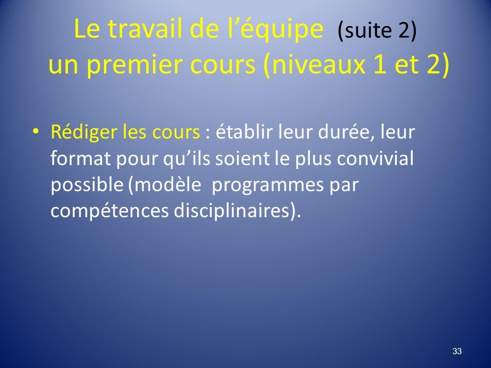 Le travail de léquipe (suite 2) un premier cours (niveaux 1 et 2) Rédiger les cours : établir leur durée, leur format pour quils soient le plus convivial possible (modèle programmes par compétences disciplinaires).