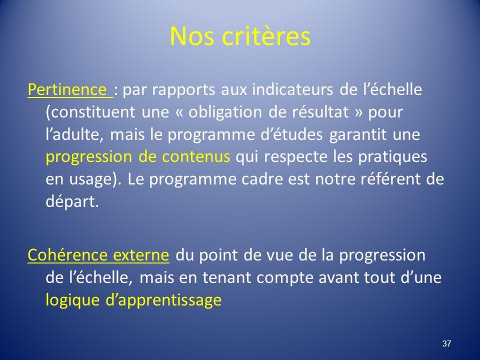 Nos critères Pertinence : par rapports aux indicateurs de léchelle (constituent une « obligation de résultat » pour ladulte, mais le programme détudes garantit une progression de contenus qui respecte les pratiques en usage).
