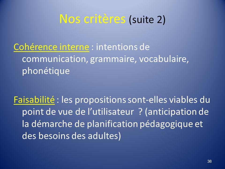 Nos critères (suite 2) Cohérence interne : intentions de communication, grammaire, vocabulaire, phonétique Faisabilité : les propositions sont-elles viables du point de vue de lutilisateur .
