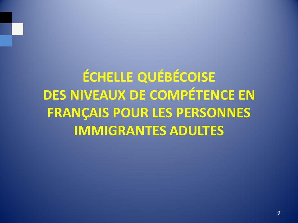 ÉCHELLE QUÉBÉCOISE DES NIVEAUX DE COMPÉTENCE EN FRANÇAIS POUR LES PERSONNES IMMIGRANTES ADULTES 9