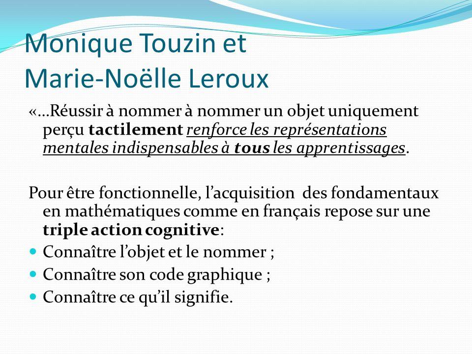Monique Touzin et Marie-Noëlle Leroux «…Réussir à nommer à nommer un objet uniquement perçu tactilement renforce les représentations mentales indispen