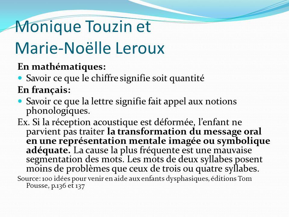 Monique Touzin et Marie-Noëlle Leroux En mathématiques: Savoir ce que le chiffre signifie soit quantité En français: Savoir ce que la lettre signifie