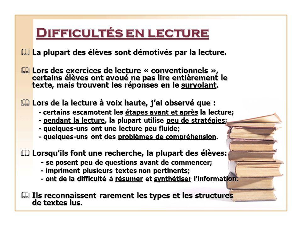Difficultés en lecture La plupart des élèves sont démotivés par la lecture. La plupart des élèves sont démotivés par la lecture. Lors des exercices de