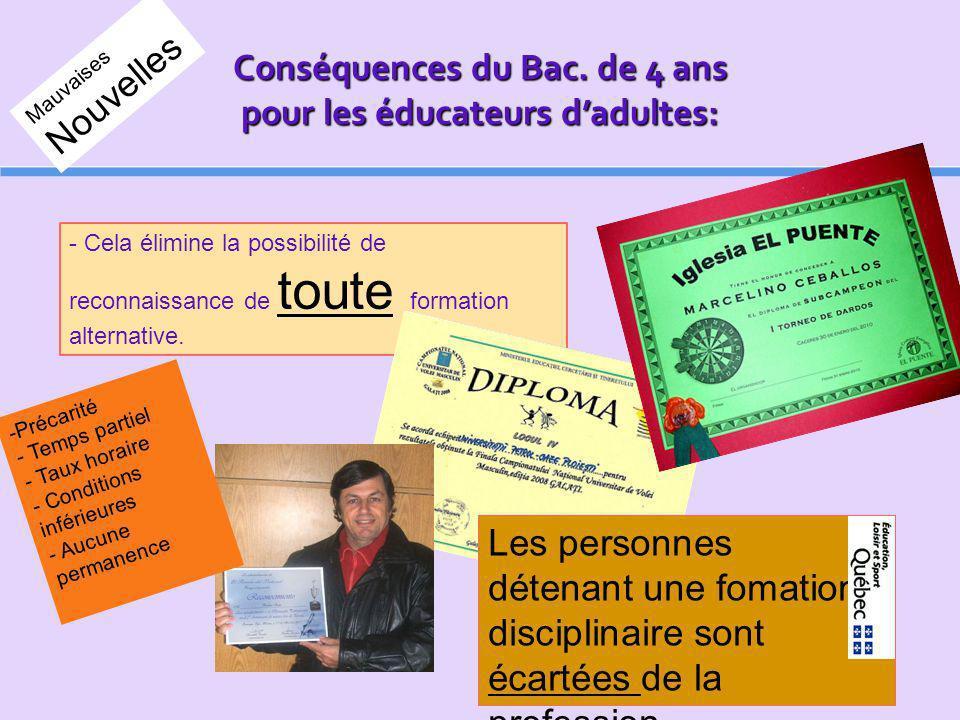 Conséquences du Bac. de 4 ans pour les éducateurs dadultes: - Cela élimine la possibilité de reconnaissance de toute formation alternative. Les person