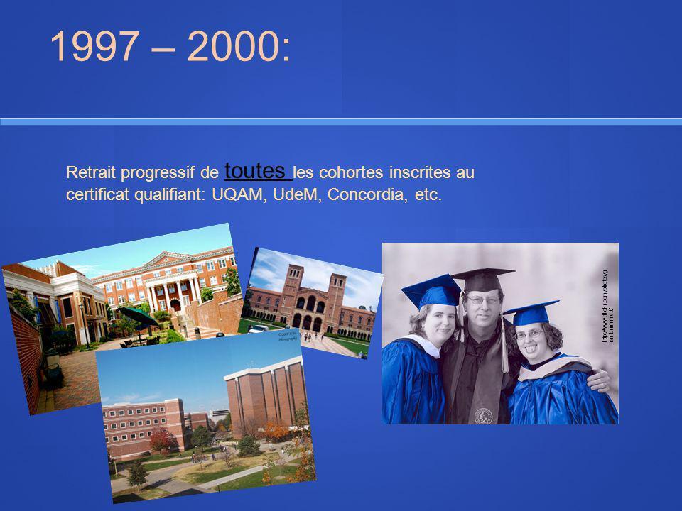 1997 – 2000: Retrait progressif de toutes les cohortes inscrites au certificat qualifiant: UQAM, UdeM, Concordia, etc. http://www.flickr.com/photos/g