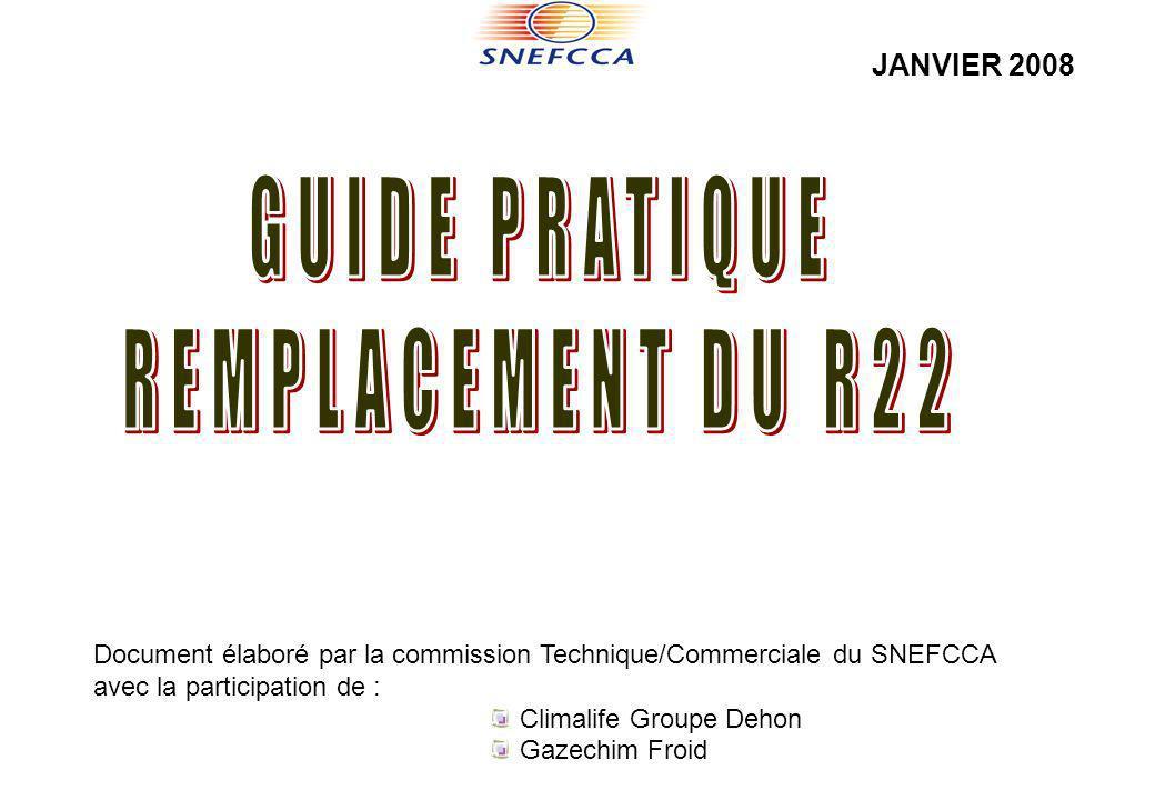 Document élaboré par la commission Technique/Commerciale du SNEFCCA avec la participation de : Climalife Groupe Dehon Gazechim Froid JANVIER 2008