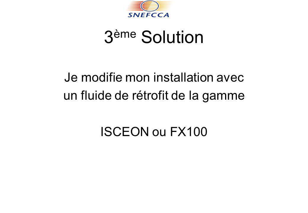 3 ème Solution Je modifie mon installation avec un fluide de rétrofit de la gamme ISCEON ou FX100