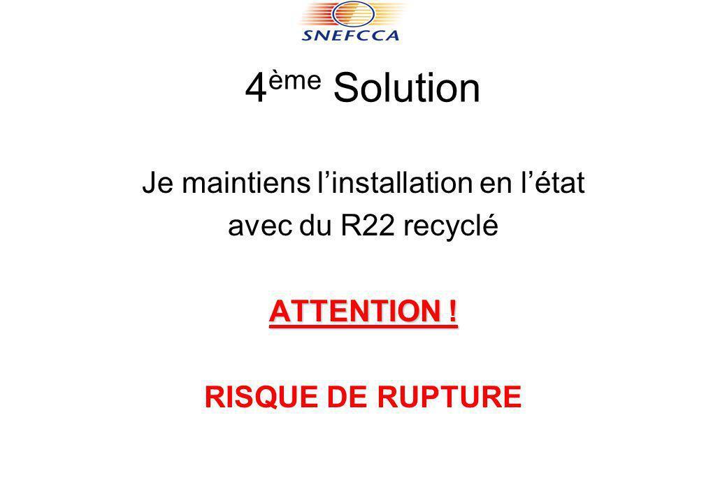 4 ème Solution Je maintiens linstallation en létat avec du R22 recyclé ATTENTION ! RISQUE DE RUPTURE