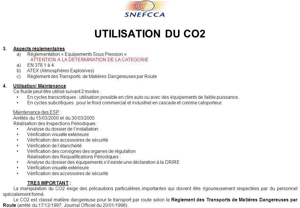 UTILISATION DU CO2 3.Aspects réglementaires a)Réglementation « Equipements Sous Pression » ATTENTION A LA DETERMINATION DE LA CATEGORIE a)EN 378 1 à 4