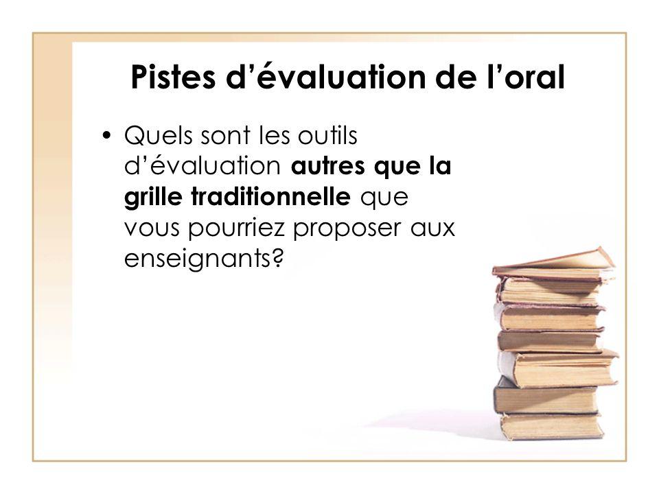 Pistes dévaluation de loral Quels sont les outils dévaluation autres que la grille traditionnelle que vous pourriez proposer aux enseignants