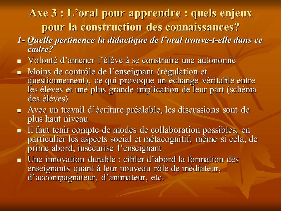 Axe 3 : Loral pour apprendre : quels enjeux pour la construction des connaissances? 1- Quelle pertinence la didactique de loral trouve-t-elle dans ce
