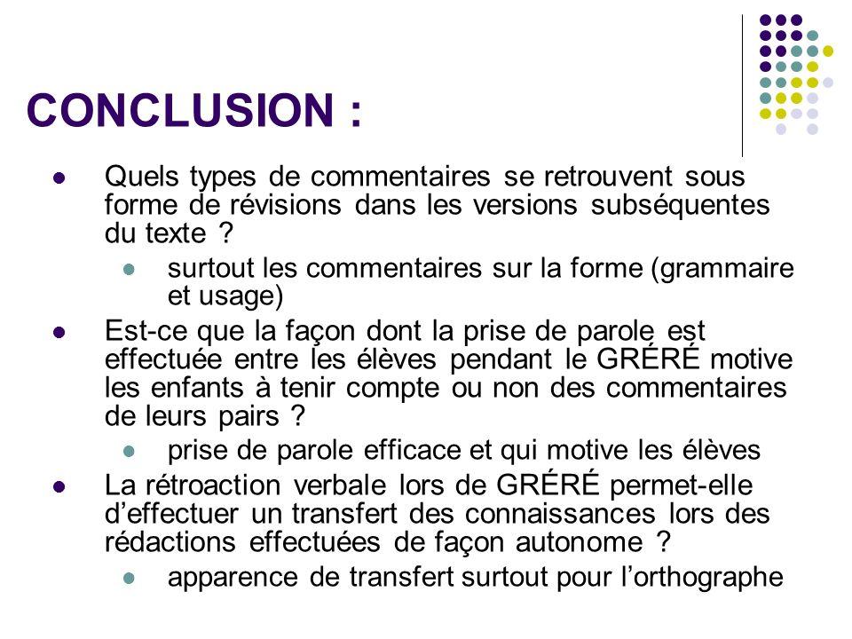 CONCLUSION : Quels types de commentaires se retrouvent sous forme de révisions dans les versions subséquentes du texte ? surtout les commentaires sur
