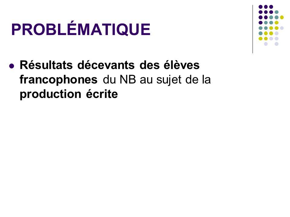 PROBLÉMATIQUE Résultats décevants des élèves francophones du NB au sujet de la production écrite