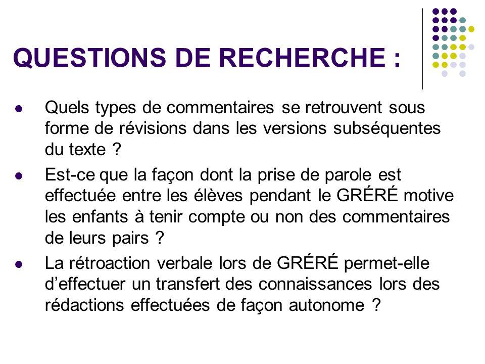 QUESTIONS DE RECHERCHE : Quels types de commentaires se retrouvent sous forme de révisions dans les versions subséquentes du texte ? Est-ce que la faç