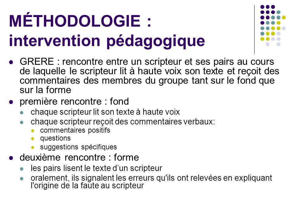 MÉTHODOLOGIE : intervention pédagogique GRERE : rencontre entre un scripteur et ses pairs au cours de laquelle le scripteur lit à haute voix son texte