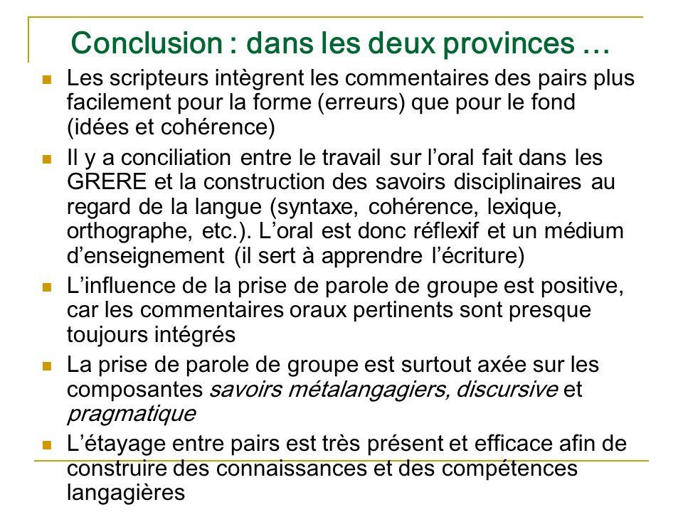 Conclusion : dans les deux provinces … Les scripteurs intègrent les commentaires des pairs plus facilement pour la forme (erreurs) que pour le fond (i