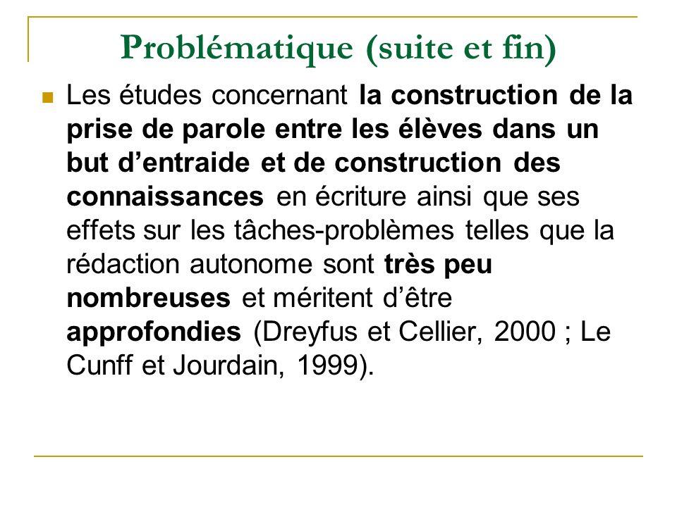 Problématique (suite et fin) Les études concernant la construction de la prise de parole entre les élèves dans un but dentraide et de construction des