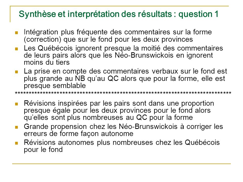 Synthèse et interprétation des résultats : question 1 Intégration plus fréquente des commentaires sur la forme (correction) que sur le fond pour les deux provinces Les Québécois ignorent presque la moitié des commentaires de leurs pairs alors que les Néo-Brunswickois en ignorent moins du tiers La prise en compte des commentaires verbaux sur le fond est plus grande au NB quau QC alors que pour la forme, elle est presque semblable **************************************************************************** Révisions inspirées par les pairs sont dans une proportion presque égale pour les deux provinces pour le fond alors quelles sont plus nombreuses au QC pour la forme Grande propension chez les Néo-Brunswickois à corriger les erreurs de forme façon autonome Révisions autonomes plus nombreuses chez les Québécois pour le fond