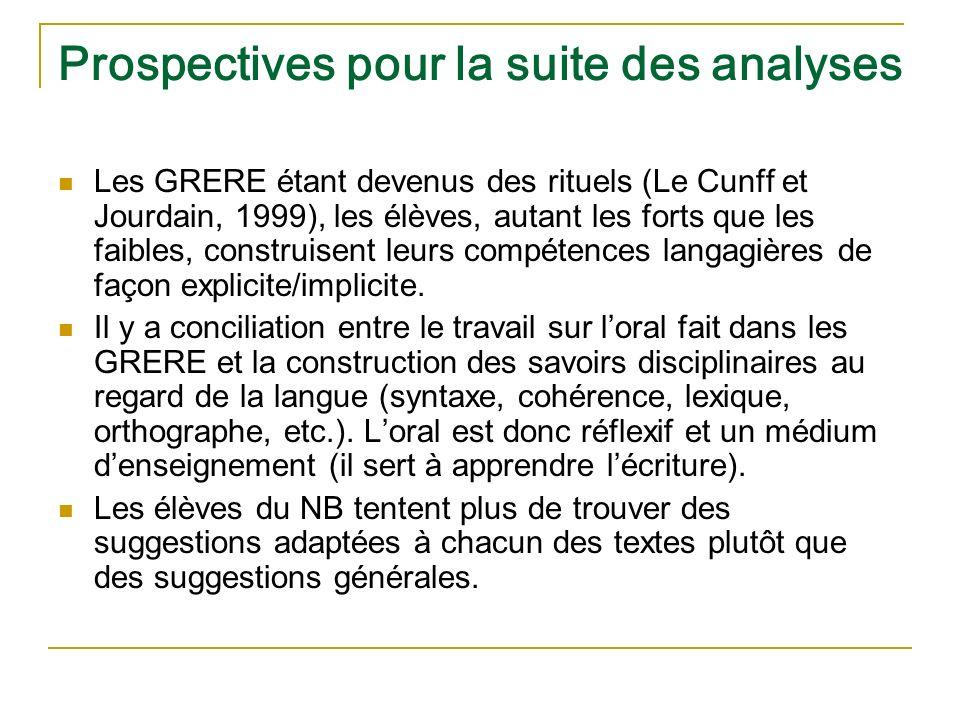 Prospectives pour la suite des analyses Les GRERE étant devenus des rituels (Le Cunff et Jourdain, 1999), les élèves, autant les forts que les faibles, construisent leurs compétences langagières de façon explicite/implicite.