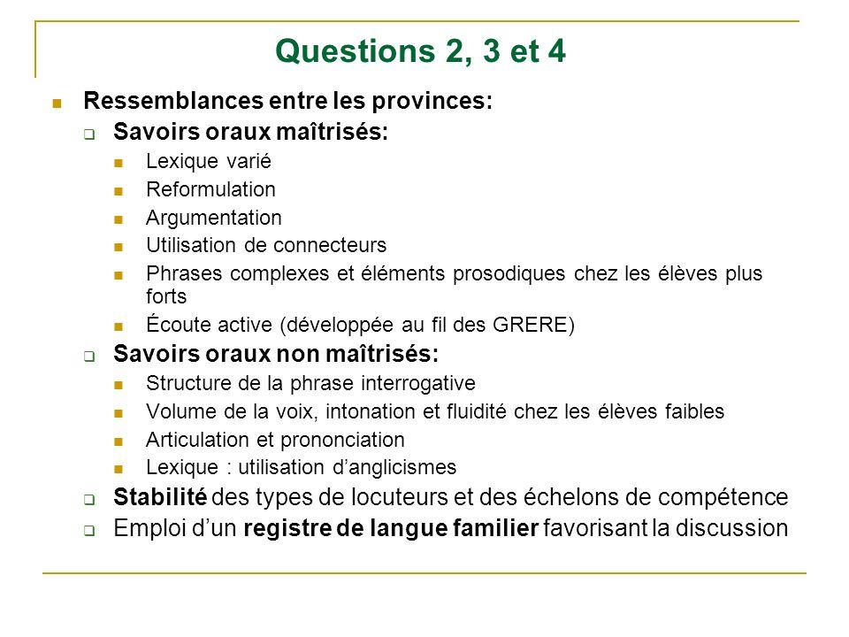 Questions 2, 3 et 4 Ressemblances entre les provinces: Savoirs oraux maîtrisés: Lexique varié Reformulation Argumentation Utilisation de connecteurs P