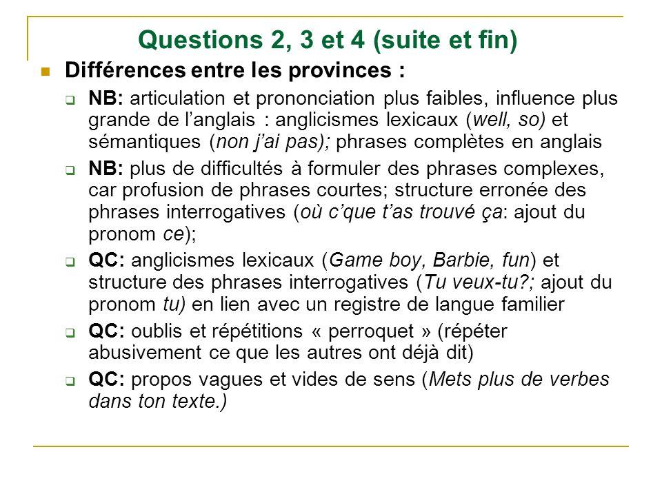 Questions 2, 3 et 4 (suite et fin) Différences entre les provinces : NB: articulation et prononciation plus faibles, influence plus grande de langlais