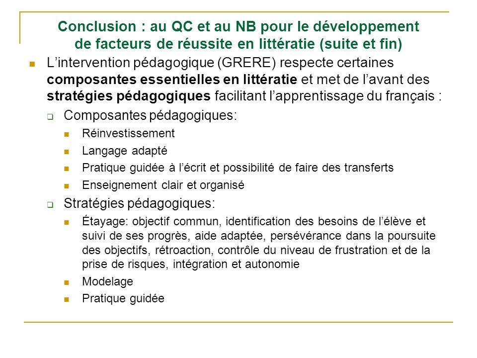 Conclusion : au QC et au NB pour le développement de facteurs de réussite en littératie (suite et fin) Lintervention pédagogique (GRERE) respecte cert