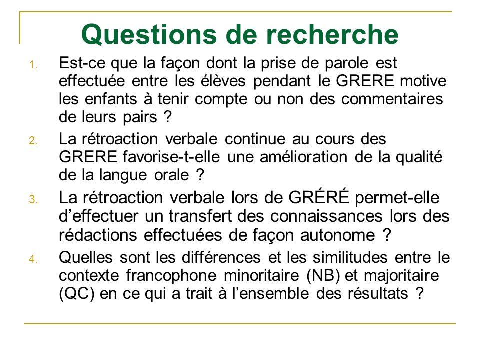 Questions de recherche 1. Est-ce que la façon dont la prise de parole est effectuée entre les élèves pendant le GRERE motive les enfants à tenir compt