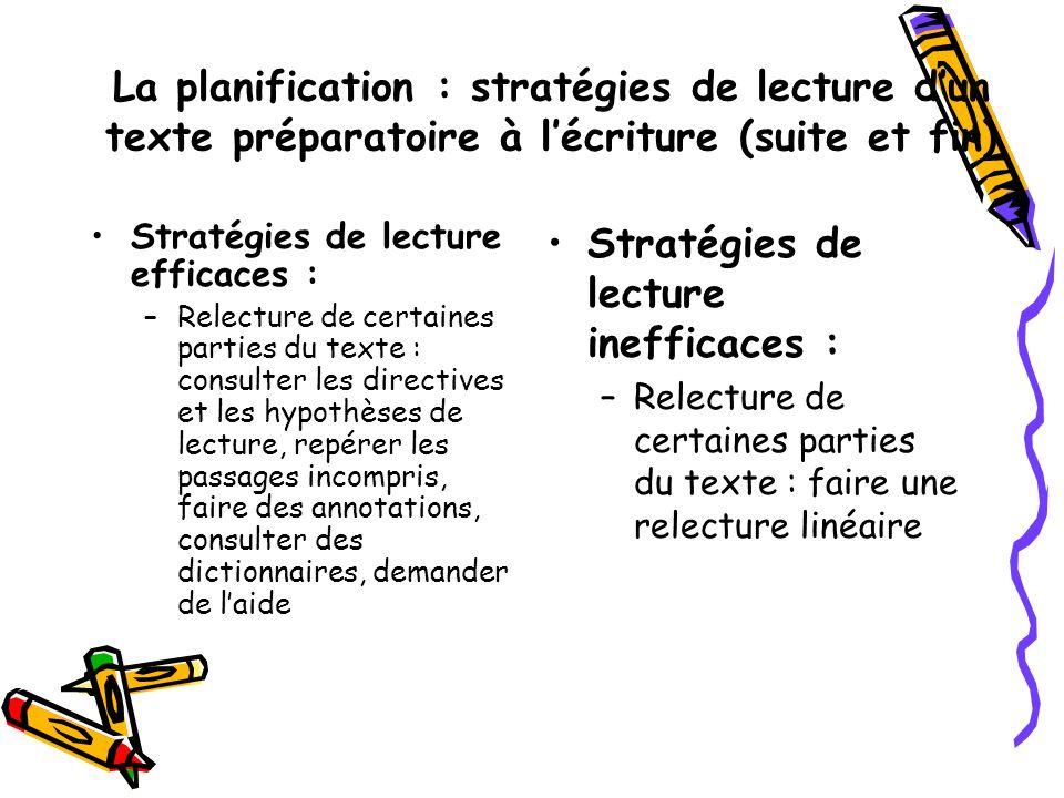 La planification : stratégies de lecture dun texte préparatoire à lécriture (suite et fin) Stratégies de lecture efficaces : –Relecture de certaines p