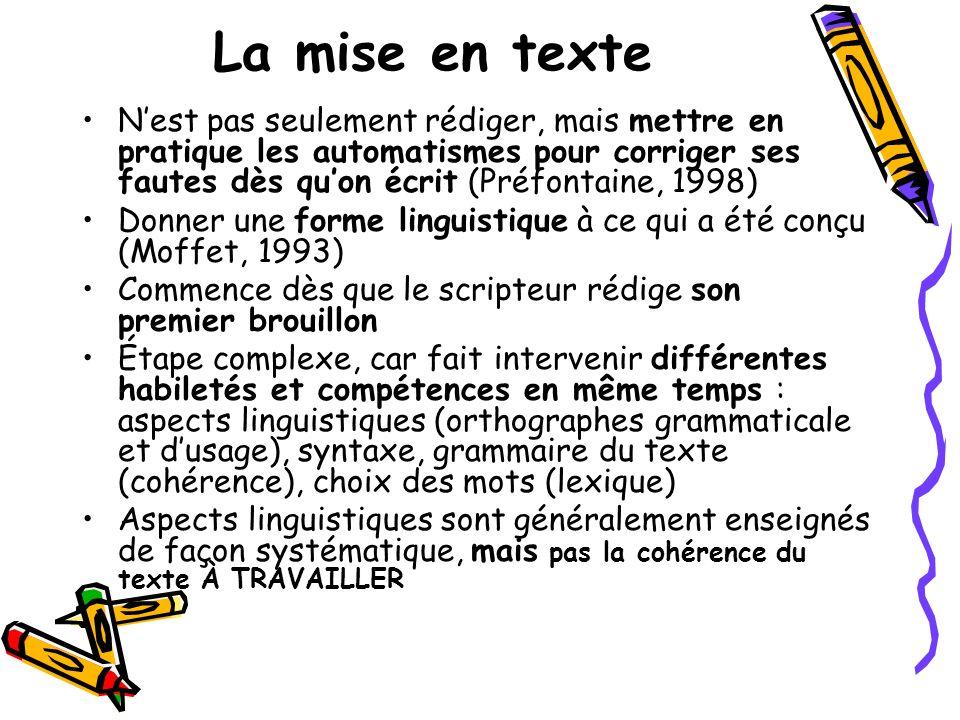 La mise en texte Nest pas seulement rédiger, mais mettre en pratique les automatismes pour corriger ses fautes dès quon écrit (Préfontaine, 1998) Donn