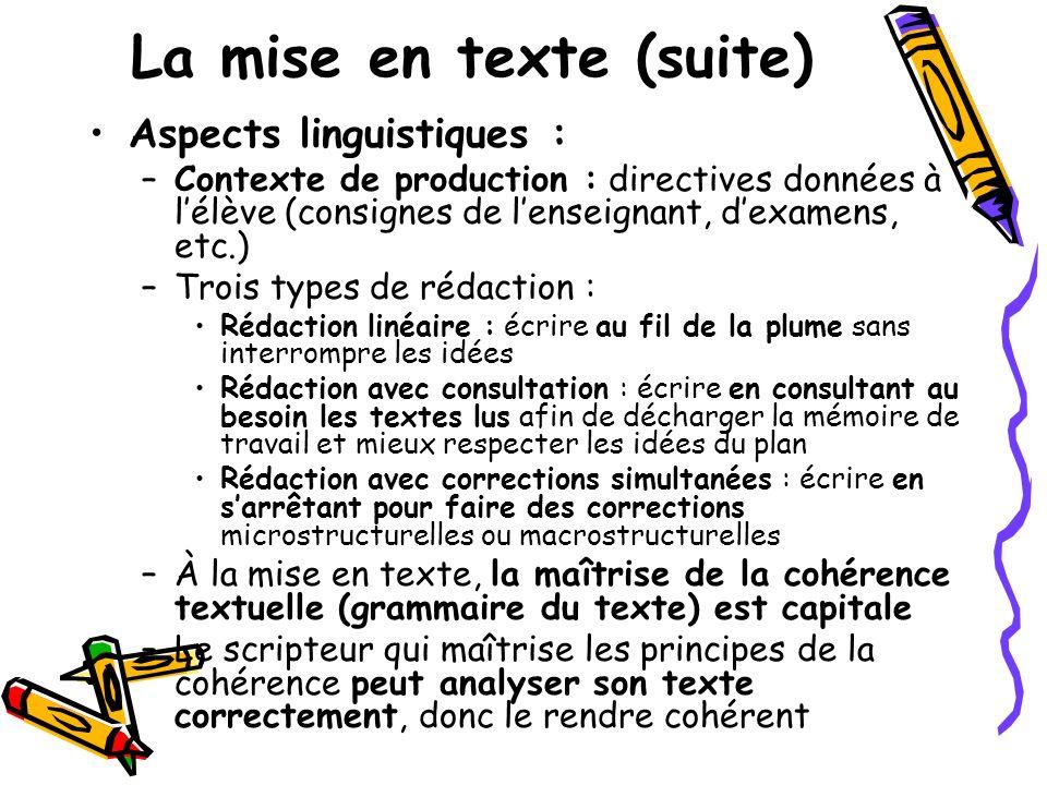 La mise en texte (suite) Aspects linguistiques : –Contexte de production : directives données à lélève (consignes de lenseignant, dexamens, etc.) –Tro