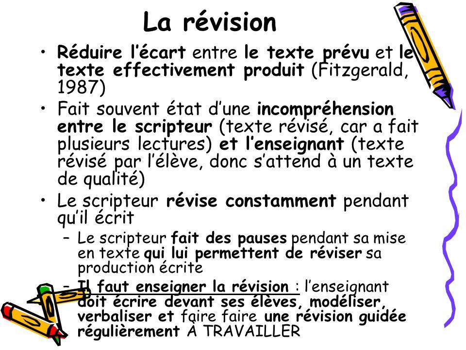 La révision Réduire lécart entre le texte prévu et le texte effectivement produit (Fitzgerald, 1987) Fait souvent état dune incompréhension entre le s